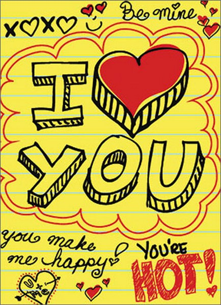 Love Doodles (1 card/1 envelope) Avanti A*Press Valentine's Day Card - FRONT: xoxo - Be Mine -I (heart) YOU - You Make Me Happy - You're Hot! - U + Me  INSIDE: totally crushing on you! Happy Valentine's Day