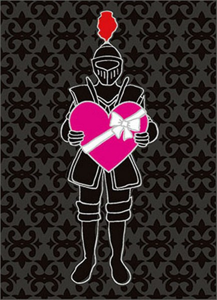 Knight Holds Heart (1 card/1 envelope) Avanti A*Press Valentine's Day Card  INSIDE: Happily ever after with you� Happy Valentine's Day