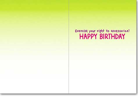 Step Aerobics (1 card/1 envelope) Avanti A*Press Birthday Card  INSIDE: Exercise your right to accessorize! Happy Birthday