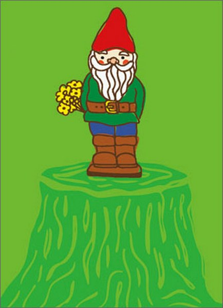 Gnome with Flower (1 card/1 envelope) - Thank You Card  INSIDE: It's the little things that count! Thank you