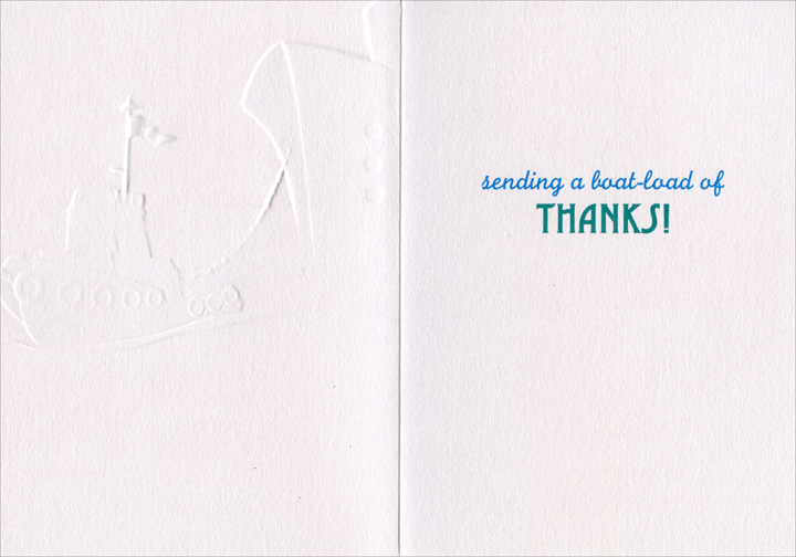 Tug Boat (1 card/1 envelope) Avanti A*Press Thank You Card  INSIDE: sending a boat-load of Thanks!