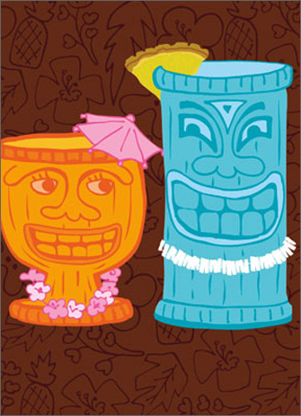 Tiki Mugs (1 card/1 envelope) Avanti A*Press Birthday Card  INSIDE: Time flies when you're having rum! Happy Birthday