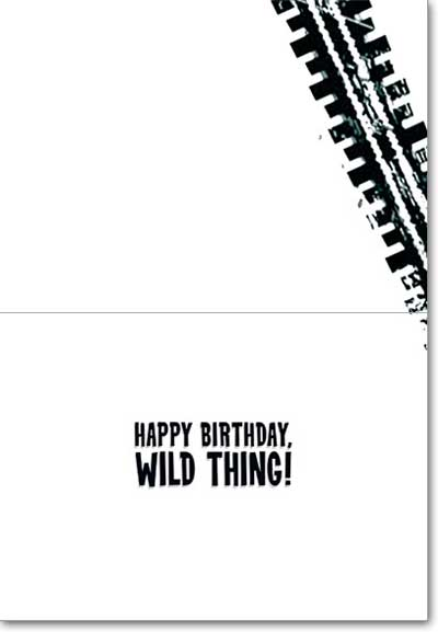 Motorbike Dogs (1 card/1 envelope) - Birthday Card  INSIDE: Happy Birthday, Wild Thing!