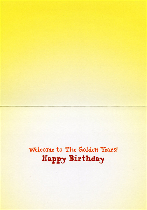 Smiling Golden Retriever (1 card/1 envelope) Avanti Funny Dog Birthday Card  INSIDE: Welcome to The Golden Years! Happy Birthday