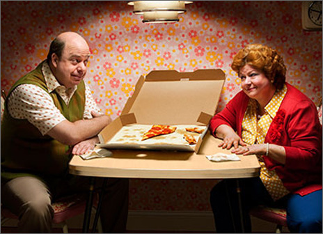 Couple Over Pizza Box (1 card/1 envelope) Avanti Funny Anniversary Card  INSIDE: Another year, another slice of heaven! Happy Anniversary