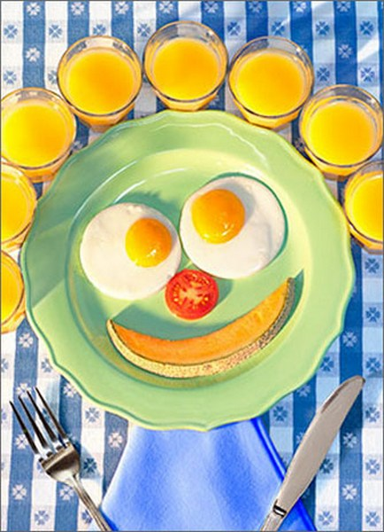Breakfast Face (1 card/1 envelope) Avanti Funny Encouragement Card  INSIDE: Keep your sunny side up…