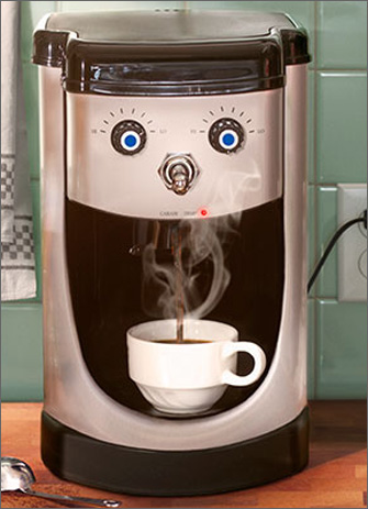 Coffee Machine Face (1 card/1 envelope) Avanti Funny Just for Fun Card  INSIDE: Genius don't happen on decaf!
