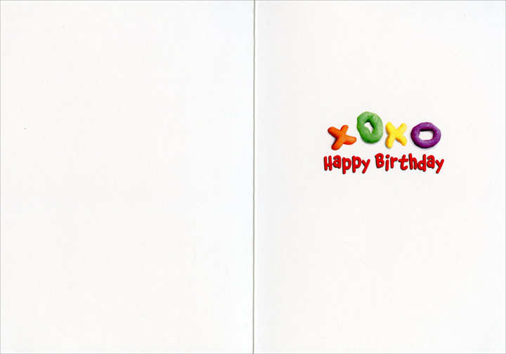 Dog Alphabet Cereal (1 card/1 envelope) Avanti Funny Pug Birthday Card  INSIDE: xoxo  Happy Birthday