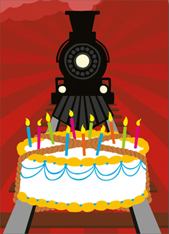 Cake On Train Tracks (1 card/1 envelope) Avanti A*Press Birthday Card  INSIDE: This one could get a little messy� Full steam ahead! Happy Birthday