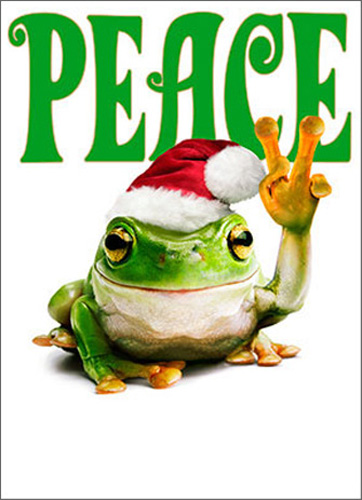 Peace Frog Premium (1 card/1 envelope) Avanti Funny Premium Christmas Card - FRONT: PEACE  INSIDE: �love and joy! Merry Christmas