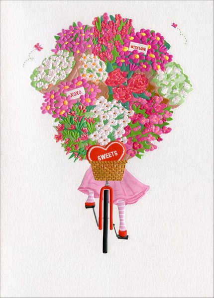Girl On Bike With Flowers (1 card/1 envelope) Avanti A*Press Valentine's Day Card  INSIDE: Lots & Lots of Love! Happy Valentine's Day