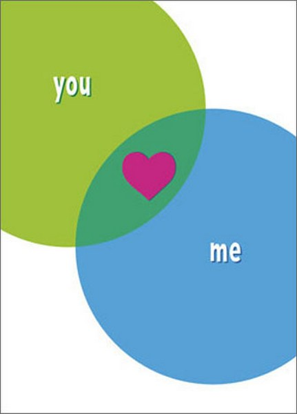 Venn Diagram Love (1 card/1 envelope) - Valentine's Day Card - FRONT: you (heart) me  INSIDE: The best part of you and me� is us! Happy Valentine's Day