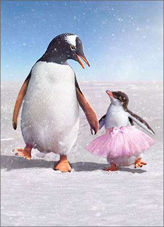 Penguin Parent And Child (1 card/1 envelope) - Father's Day Card  INSIDE: You're the best Dad ever! Happy Father's Day
