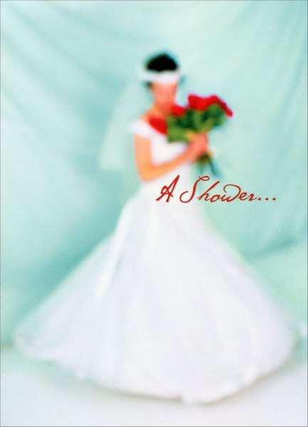 Bride with Red Flowers (1 card/1 envelope) Bridal Shower Card - FRONT: A Shower..  INSIDE: ..of love. Congratulations!