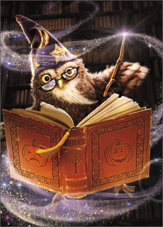 Wizard Owl Standout (1 card/1 envelope) Avanti Stand Out Pop Up Halloween Card  INSIDE: Poof - Happy Halloween!