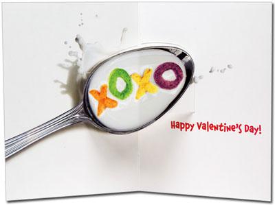 Dog Alphabet Cereal (1 card/1 envelope) Avanti Stand Out Pop Up Valentine's Day Card  INSIDE: XOXO! Happy Valentine's Day
