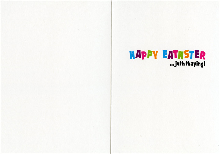 Dog With Bunny Teeth (1 card/1 envelope) Avanti Funny Bulldog Easter Card  INSIDE: Happy Eathster �juth thaying!