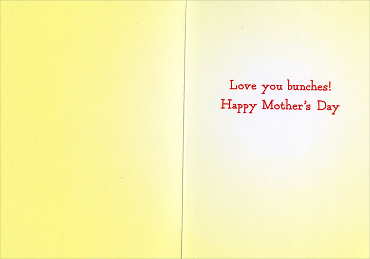 Girl Holds Hat With Flowers (1 card/1 envelope) Avanti Mother's Day Card  INSIDE: Love you bunches! Happy Mother's Day
