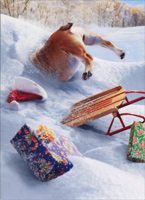 Dog Stuck In Snow Bank Stand Out (1 card/1 envelope) - Christmas Card  INSIDE: Oh what fun it is! Merry Christmas