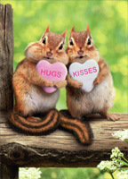 Chipmunk Hearts (1 card/1 envelope) Avanti Valentine's Day Card