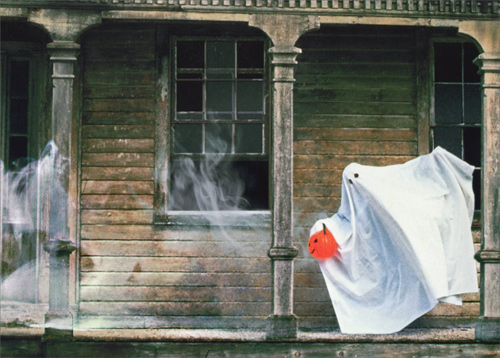 Ghost On Porch Of Haunted House Funny Humorous Halloween Card By Avanti Press