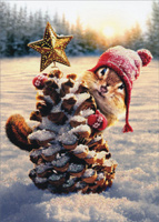 Chipmunk Pine Cone Tree (1 card/1 envelope) Avanti Embellished Christmas Card