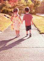 Boy & Girl Walking Down Sidewalk (1 card/1 envelope) Avanti Valentine's Day Card