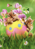 Chipmunk Easter Egg Floral (1 card/1 envelope) Avanti Easter Card