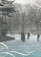 Ice Skating At Palmer Park (1 card/1 envelope) Avanti Historic Detroit Christmas Card