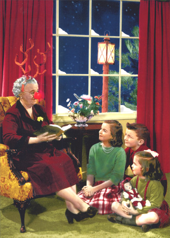 Retro Grandma Reading to Kids (1 card/1 envelope) Funny Christmas Card - FRONT: No Text  INSIDE: Celebrate with those near and deer!  Merry Christmas