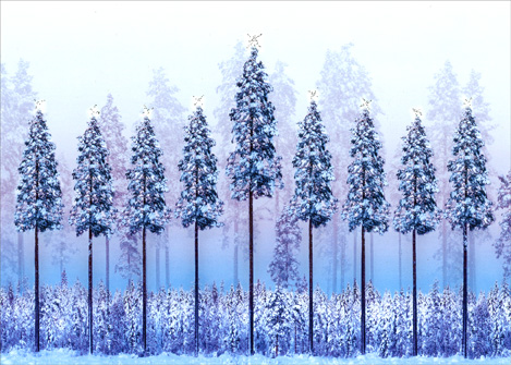 Trees in Shape of Menorah (1 card/1 envelope) - Hanukkah Card - FRONT: No Text  INSIDE: A season of hope, a season of miracles..Happy Hanukkah!