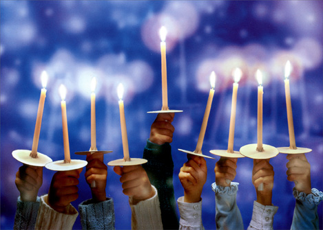 Children's Hands Holding Candles (1 card/1 envelope) - Hanukkah Card - FRONT: No Text  INSIDE: May love light your way.. Happy Hanukkah!