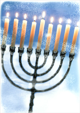 Menorah on Blue Background (1 card/1 envelope) Hanukkah Card - FRONT: No Text  INSIDE: Wishing you a beautiful season of light.  Happy Hanukkah