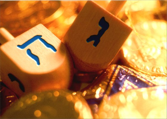Dreidels & Coins on Gold (1 card/1 envelope) - Hanukkah Card - FRONT: No Text  INSIDE: Happy Hanukkah!