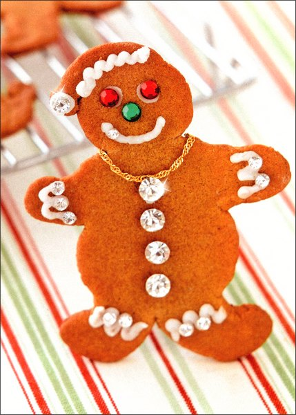 Bling Gingerbread Man (1 card/1 envelope) - Christmas Card - FRONT: No Text  INSIDE: Wishing you all the phat.. and half the calories! Merry Christmas