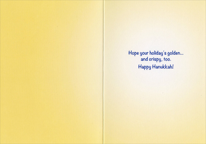 Dog Steals Latkes (1 card/1 envelope) Hanukkah Card - FRONT: No Text  INSIDE: Hope your holiday�s golden..  and crispy, too! Happy Hanukkah.