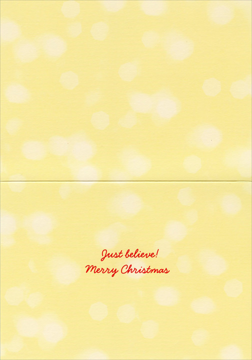 Pup Jumps on Santa (1 card/1 envelope) - Christmas Card - FRONT: No Text  INSIDE: Just believe! Merry Christmas