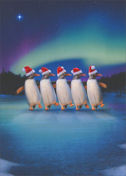Penguin Dancers (1 card & 1 envelope) Avanti Christmas Card - FRONT: No Text  INSIDE: Warmest wishes to you and yours! Merry Christmas