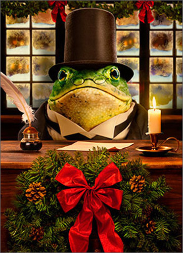 Frog Scrooge (1 card/1 envelope) - Christmas Card  INSIDE: Have a dickens of a Christmas!