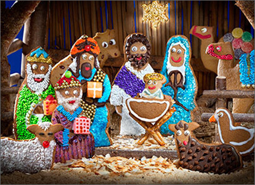 Gingerbread Nativity Scene (10 cards & 12 envelopes) Avanti Funny Boxed Christmas Cards  INSIDE: Peace, Love� and cookies! Merry Christmas
