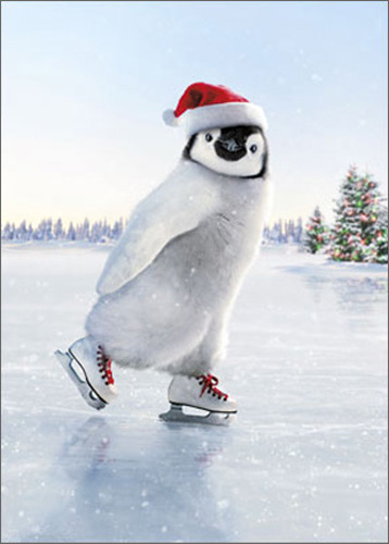 Penguin Skater (10 cards/12 envelopes) Avanti Funny Boxed Christmas Cards  INSIDE: Warm wishes for a cool Yule! Merry Christmas