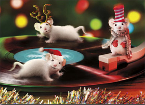 Christmas Mice On Turntable (1 card/1 envelope) Avanti Funny Christmas Card  INSIDE: Have a rockin' Christmas!