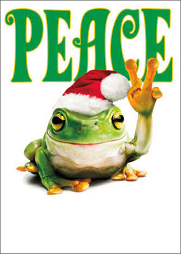 Peace Frog (1 card/1 envelope) Avanti Funny Christmas Card - FRONT: PEACE  INSIDE: …love and joy! Merry Christmas