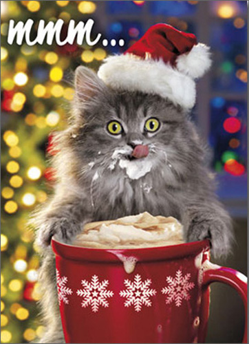 Hot Chocolate Kitty (10 cards/12 envelopes) - Boxed Christmas Cards - FRONT: mmm�  INSIDE: May your holidays be warm and wonderful! Merry Christmas