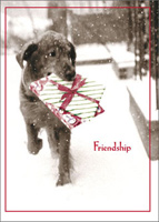 Dog Carrying Present In Snow Christmas Card