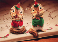 Chipmunks Wearing Santa Glasses (1 card/1 envelope) Avanti Funny Christmas Card