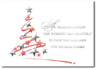 Tree of Red & Silver Stars (25 cards & envelopes) Personalized Business Boxed Holiday Cards