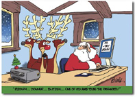 Stumped Santa (25 cards & envelopes) Personalized Funny Boxed Holiday Cards