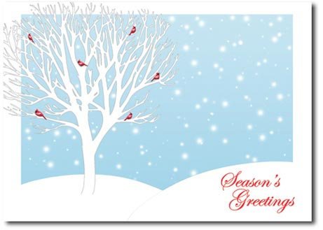 Cardinals Resting in Trees (25 cards & envelopes) Personalized Boxed Holiday Cards