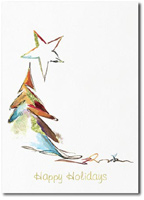 Modern Pastel Holiday Tree (25 cards & envelopes) Personalized Boxed Holiday Cards